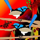 2 Blue Wrens by Graham Colton