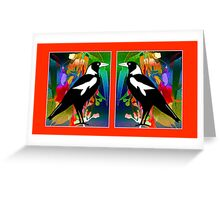 Stained Glass Magpies Greeting Card