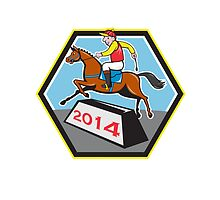 Year of Horse 2014 Jockey Jumping Cartoon by patrimonio