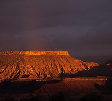 Canyon and Mesas at Sunset Time near Virgin Utah by Robert Ford