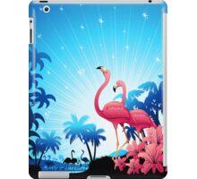 Pink Flamingos on Blue Tropical Landscape iPad Case/Skin