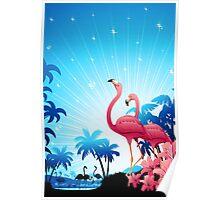 Pink Flamingos on Blue Tropical Landscape Poster