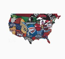 Map of America in NBA Logos by TAllan15