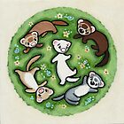 Frolicking Ferrets by Shelly  Mundel
