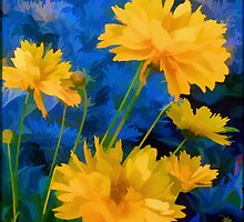 Coreopsis - Yellow And Blue by moorezart
