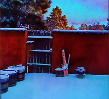 Winter Courtyard in Santa Fe, New Mexico by moorezart