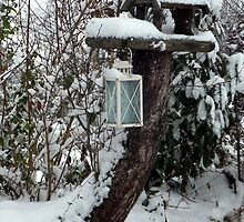 Bird House and lantern snow capped by Franglais
