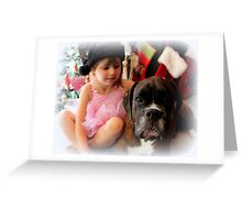 Girl And Dog Portrait Greeting Card