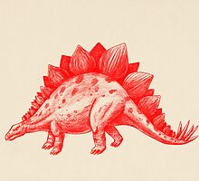 Red Stegosaurus  by Terry  Fan