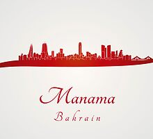 Manama skyline in red by Pablo Romero