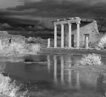 Storm clouds over ancient greek ruins by neil harrison