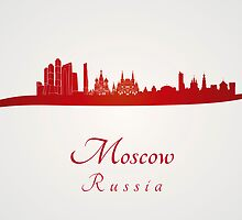 Moscow skyline in red by Pablo Romero