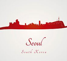 Seoul skyline in red by Pablo Romero