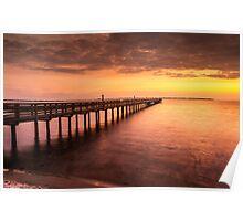 Sunset/sundusk over harbor Poster