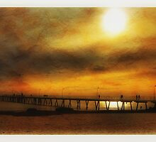 Blood Orange Sunset at Glenelg S.A by Rob Kelly