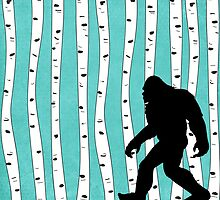 Bigfoot In Birch Trees by cesstrelle