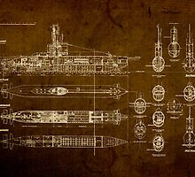 Submarine Blueprint by designturnpike