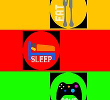 24 hours gamers activity illustration by Johnny Sunardi