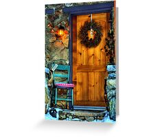 Country Cottage Door At Christmas Greeting Card