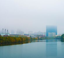 Indianapolis Skyline Foggy by DavidHaskett