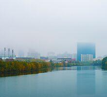 Indianapolis Skyline Foggy by DavidHaskett