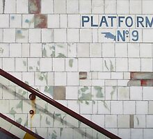 Subway - Platform 9 blank card by Pauline Bailey