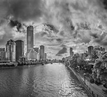 View of Melbourne's Yarra River, Southbank and Beyond by Julie Begg