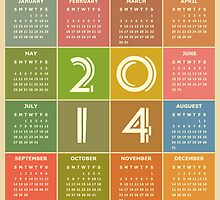 Year 2014 Calendar in Retro Style and Colors by scottorz