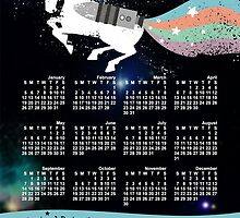 Grunge rainbow colors unicorn outer space calendar by BigMRanch