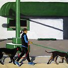 Walking the Dogs - city figurative oil painting by LindaAppleArt