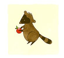Forest Critters - Raccoon With an Apple by Sarah Christie