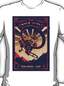 retro mountain bike poster: kick some gravity ass T-Shirt