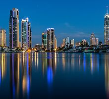 Surfers Paradise Skyline at Sunset by MikeAndrew
