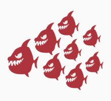 Funny Evil Comic Piranha Fish Swarm by Style-O-Mat