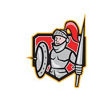 Knight Shield Lance Crest Cartoon by patrimonio