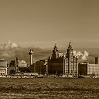 Liverpool skyline sepia toned by Paul Madden