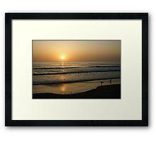 California Surfing Sunset - Pacific Beach, San Diego, California Framed Print