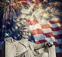 Abraham Lincoln & Fireworks by Michael Shake