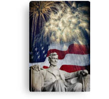 Abraham Lincoln & Fireworks Canvas Print