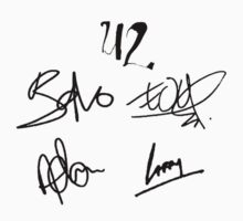 U2 logo and autographs - Bono, Edge, Adam, and Larry signatures by aanast2