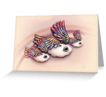 Happy Little Flying Clouds Pink Greeting Card