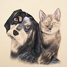 Blue Tick Hound And Calico Cat by jkartlife