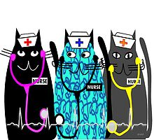 Whimsical Nurse Cats by gailg1957