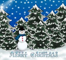 Merry Christmas Snowman Winter Scene Greeting Card by Linda Allan