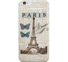 Blue Eiffel Tower with Butterflies iPhone Case/Skin