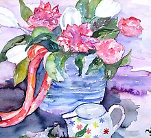 Jug and Peony Roses by Maire Morrissey-Cummins