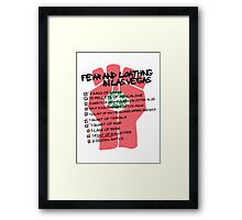 Fear and Loathing in Las Vegas checklist Framed Print