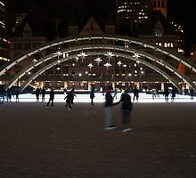 Night Skating At Nathan Phillips Square by Gary Chapple