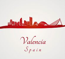 Valencia skyline in red by Pablo Romero