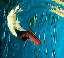 Mute Swan Abstract Impressionism by pjwuebker